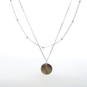 Stamped 925 Disc Double Layer Choker Necklace